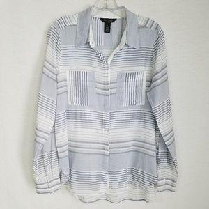 WHBM Button Down Shirt Pockets Striped White Blue